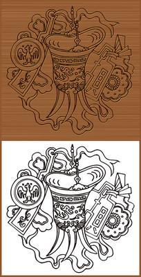古代高脚酒杯矢量图素材