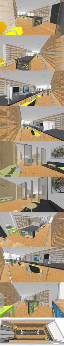 办公空间室内设计SU模型