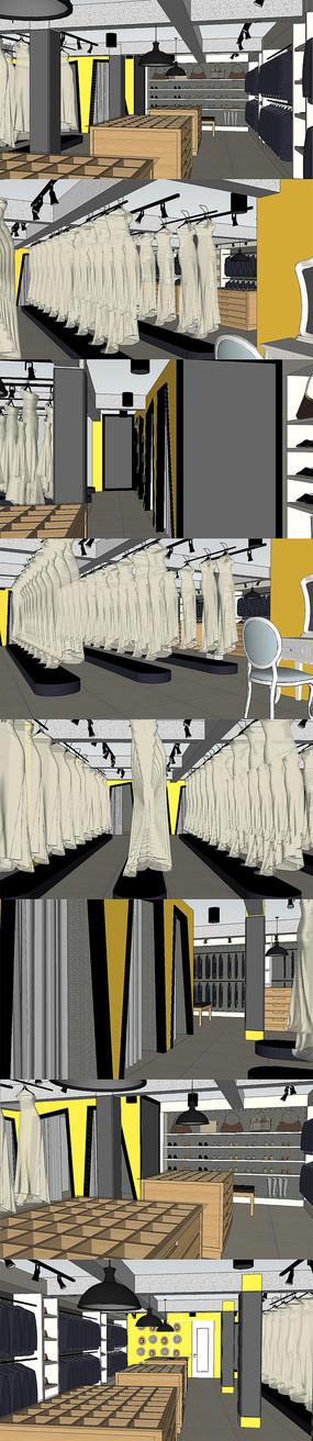 婚纱服装店室内设计SU模型