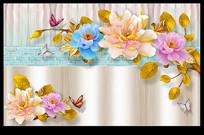 时尚3D浮雕花朵壁画背景墙