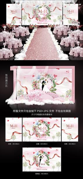 唯美小清新婚礼背景效果图模板