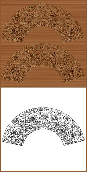 中国传统扇形图案矢量花纹