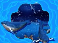 3D鲸鱼背景墙