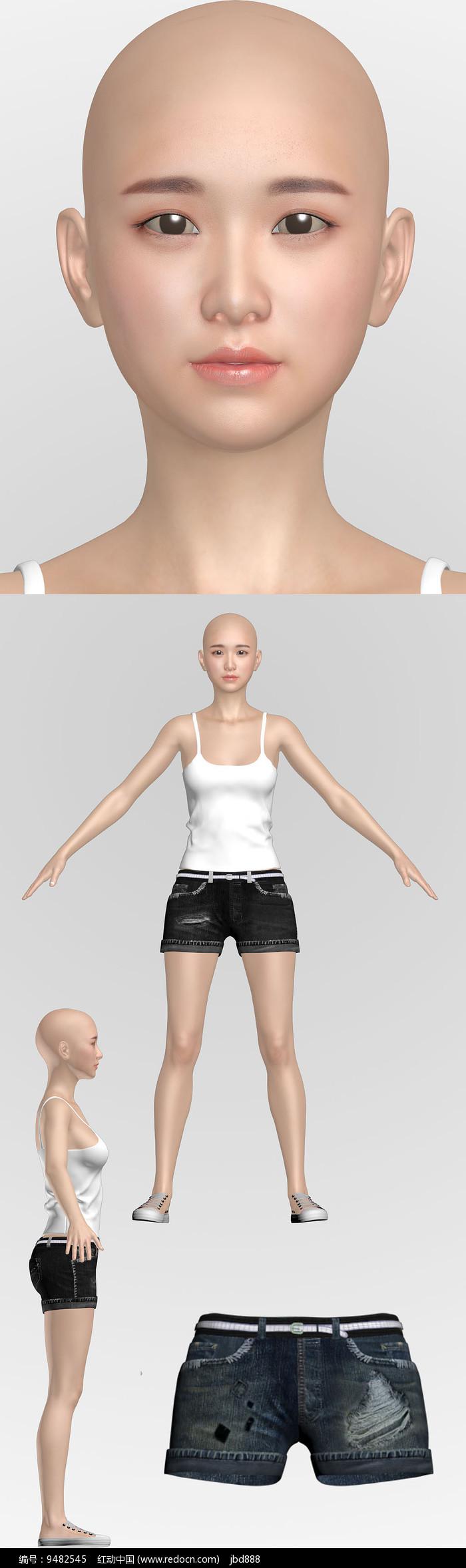 3dmax模型美女Ynlin图片