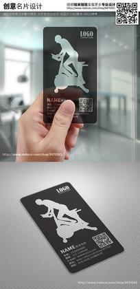 黑色简约动感单车透明名片