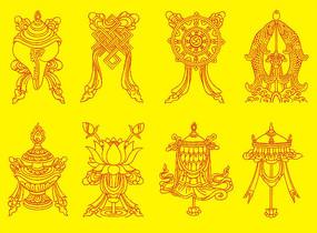 藏传佛教八吉祥图装饰画