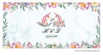 水彩花朵婚礼背景板