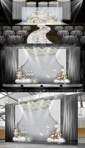 银灰色婚礼线帘主题婚礼
