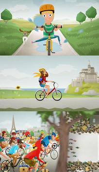 卡通动画骑行锻炼ae模板