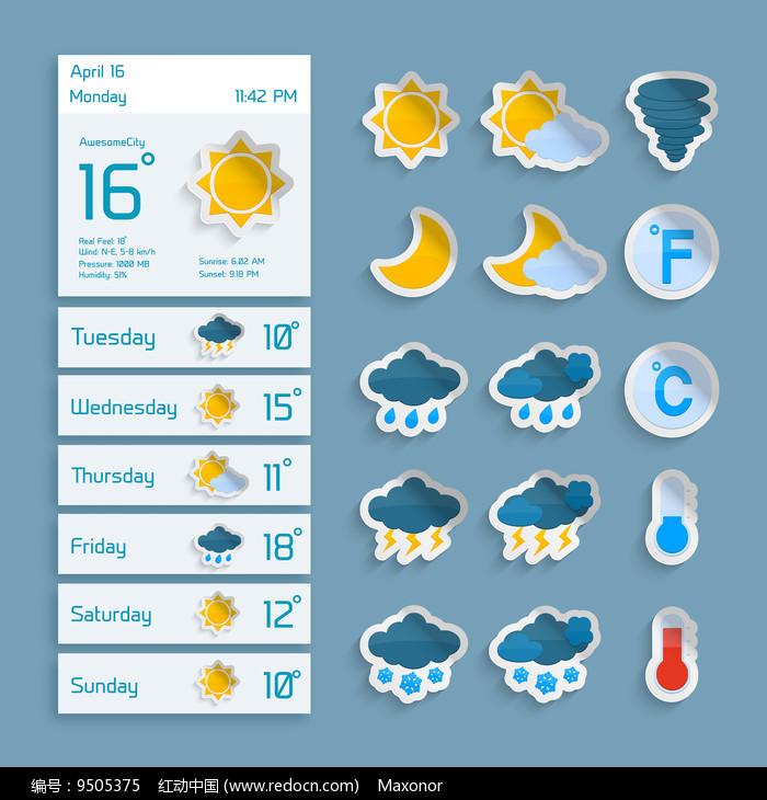 国外精美矢量天气预报说明图标图片