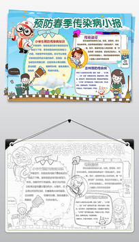 卡通简约预防传染病小报