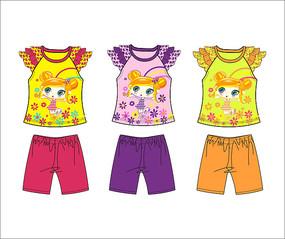 可爱卡通女童童装印绣花图