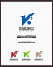 大气蓝色V科技电子商务标志