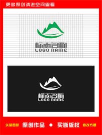 绿叶山水标志环保农业logo
