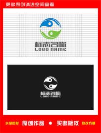 绿叶旋转太极养生医疗logo