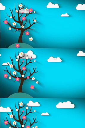 鲜花掉落卡通背景视频素材