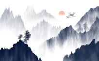 新中式水墨山水背景墙
