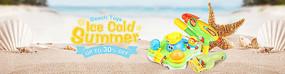 沙滩卡通玩具海报设计广告