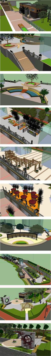 带状广场公园景观模型