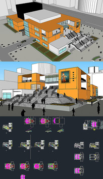 剧院歌厅草图SU模型含CAD