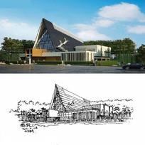 民族风建筑设计效果手绘线稿