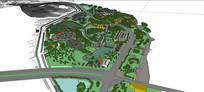 体育休闲广场公园模型