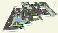 扬州何园古建花园园林SU模型
