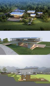 展览建筑草图SU模型含CAD