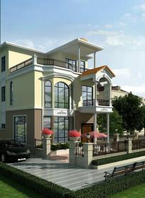 自建房别墅外观3d模型效果图