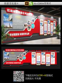 红色大气通用企业文化墙
