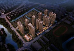 欧式住宅区夜景鸟瞰图3D模型