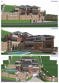坡上英式独栋别墅模型