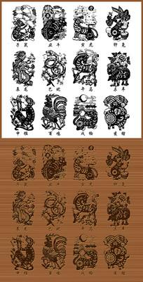 中国传统十二生肖矢量图