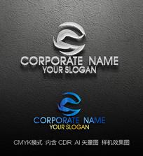 蓝色e字母创意标志设计