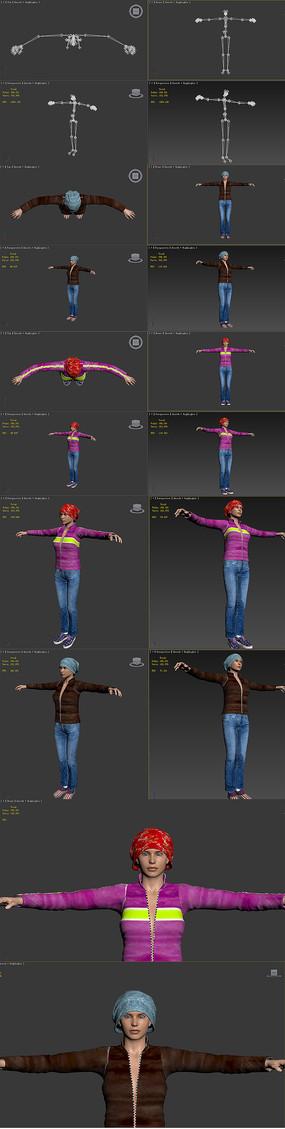 3dmax模型冬装美女