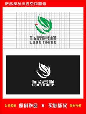 Y字母标志绿叶飞鸟logo