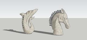 动物头型雕塑