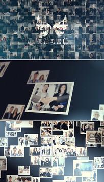 多图片照片墙汇聚成标志模板