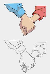 手牵手矢量素材