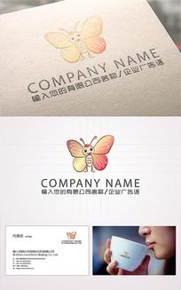 精美蝴蝶卡通logo标志