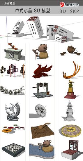 中式雕塑小品模型