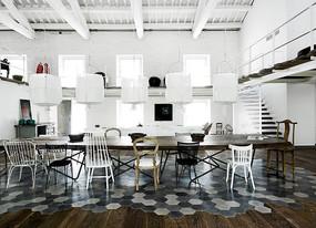 混搭风砖块木地板拼接餐厅