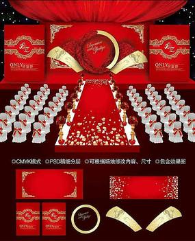 红金色婚礼背景图