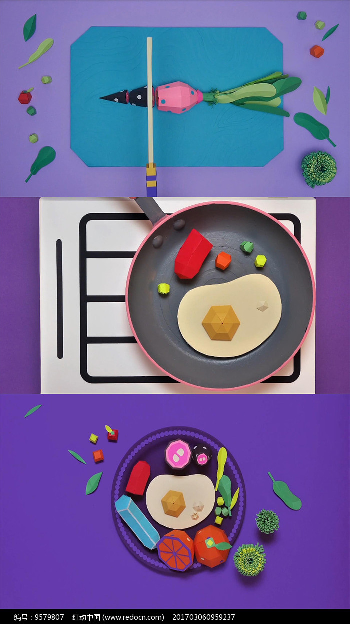 卡通美食折纸创意片头AE模板图片