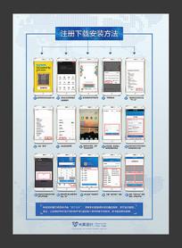 APP软件下载注册流程图展板