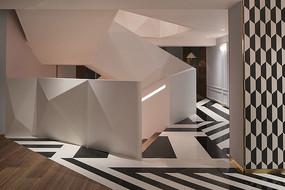 时尚黑白砖块地面楼梯效果图