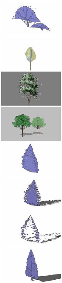 手绘风格的树木