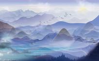 高端蓝色新中式简约山水背景墙