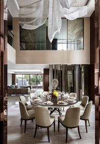 现代奢华圆形大餐桌效果