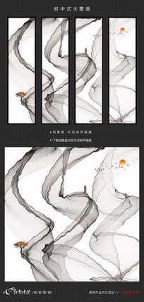 新中式清晰意境水墨画